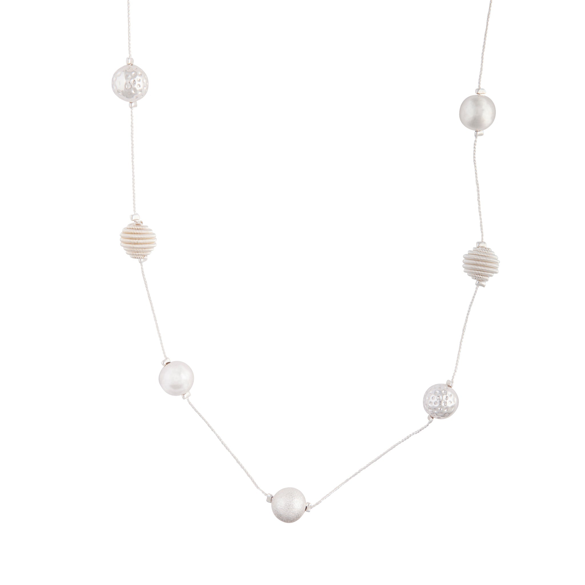 Mixed Silver Ball Station Lariat Necklace
