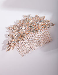 Rose Gold Crystal Floral Comb - link has visual effect only