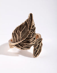 Antique Gold Large & Small Leaf Wrap Ring - link has visual effect only