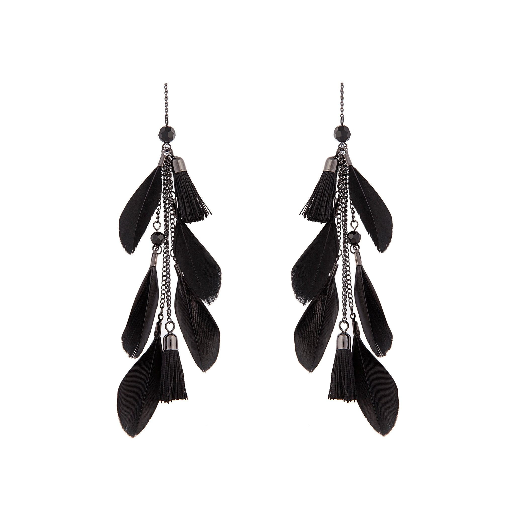 Black Feather Tassel Thread Earring