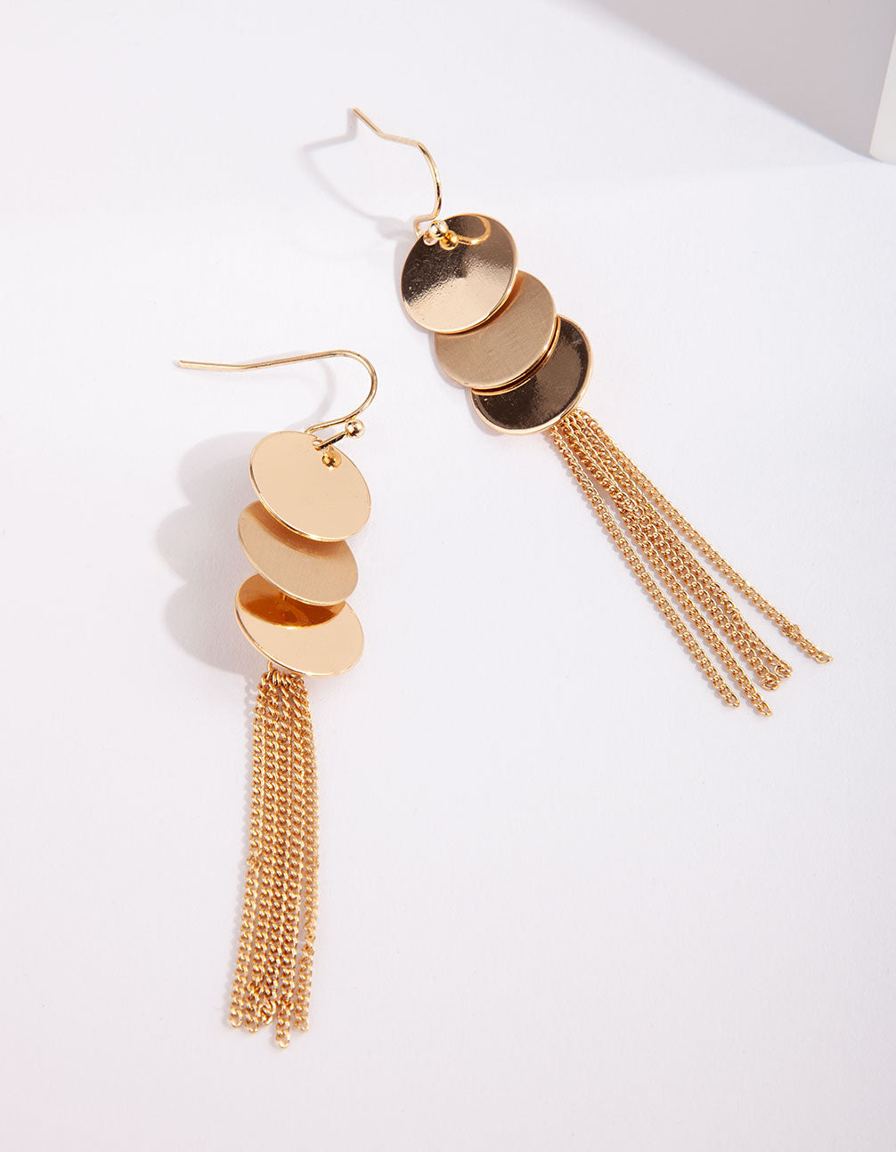 Gold Disc Chain Tassel Earring