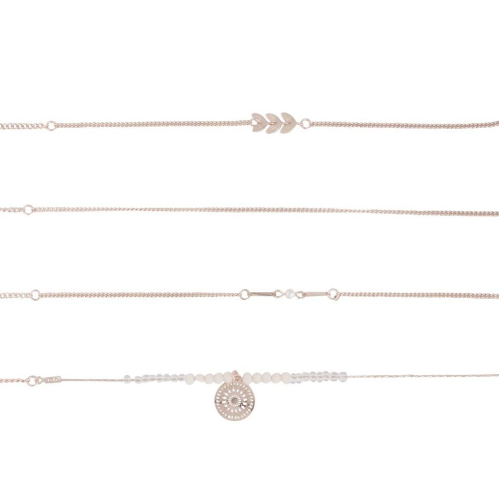 Rose Gold Anklet 4 Pack