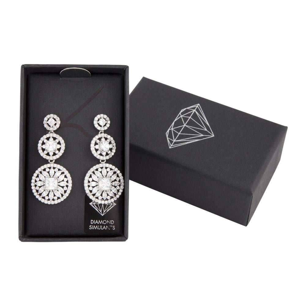 Crystal Floral Station Drop Earring