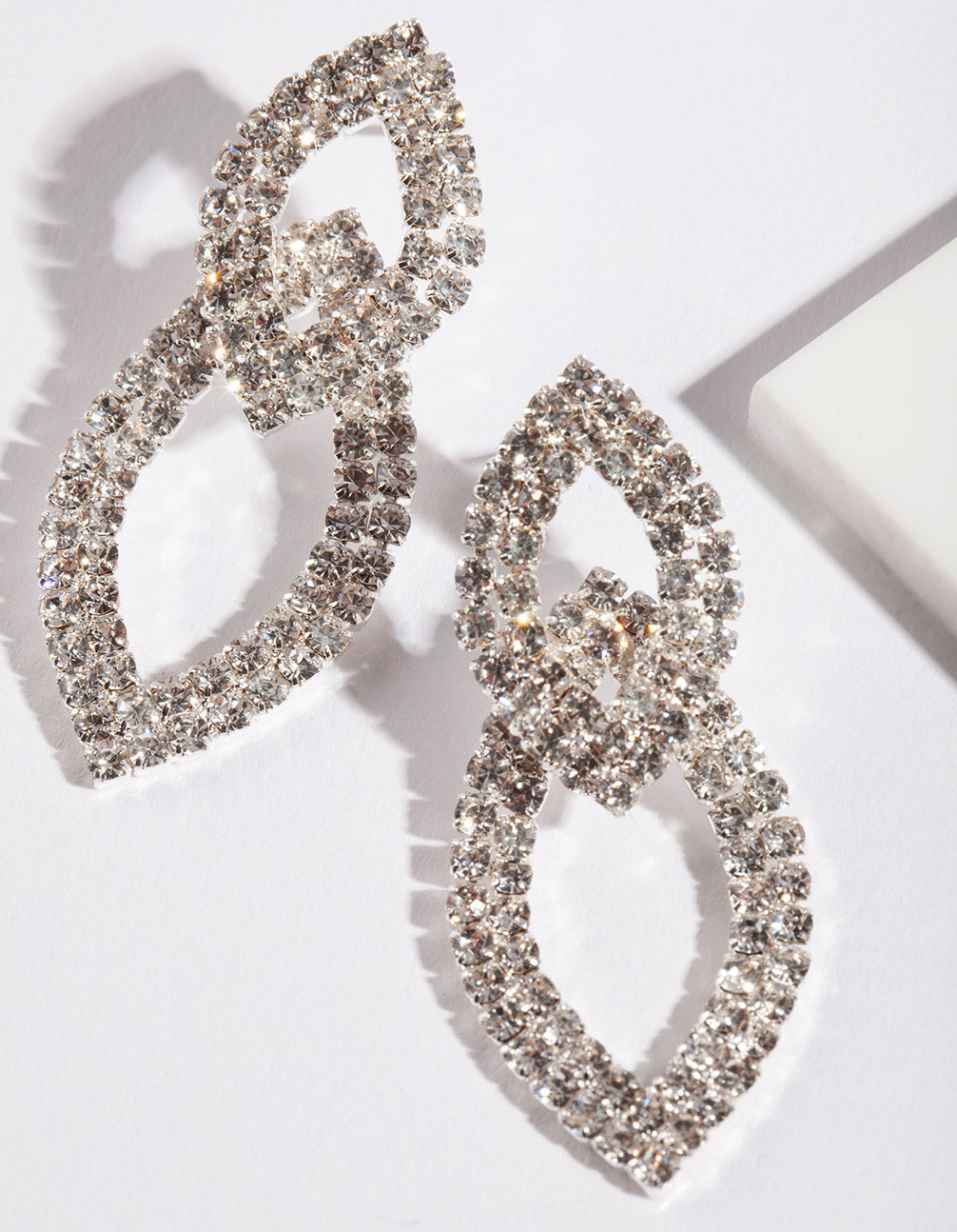 Silver Cup-Chain Double Leaf Earring
