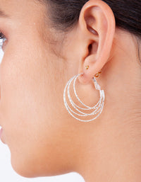 Silver Multi Ring Hoop Earrings - link has visual effect only
