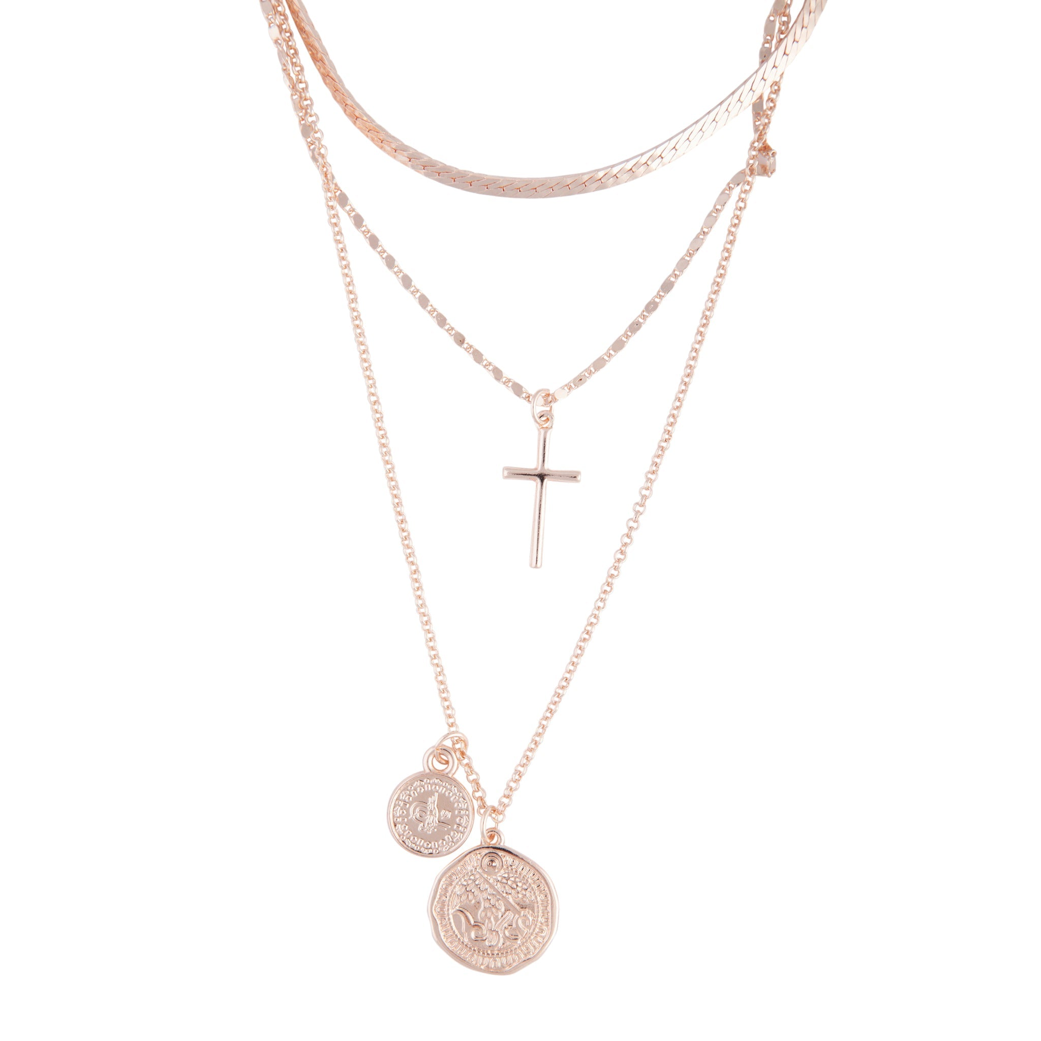 Rose Gold Layered Coin Cross Necklace Lovisa