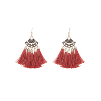 Antique Gold Burgundy Tassel Earring - link has visual effect only