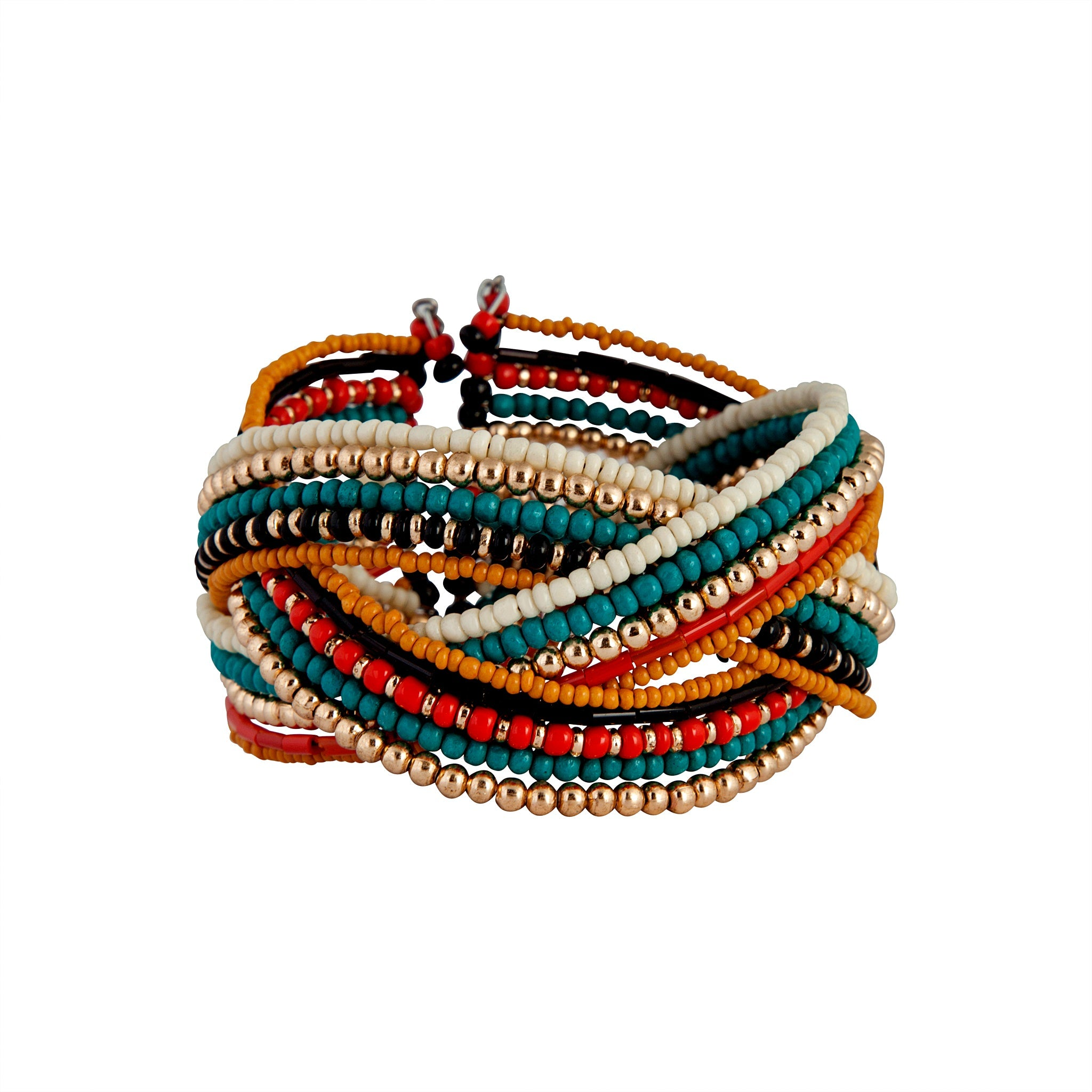 Gold Blue Red Bead Plaited Cuff
