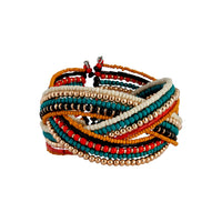 Gold Blue Red Bead Plaited Cuff - link has visual effect only
