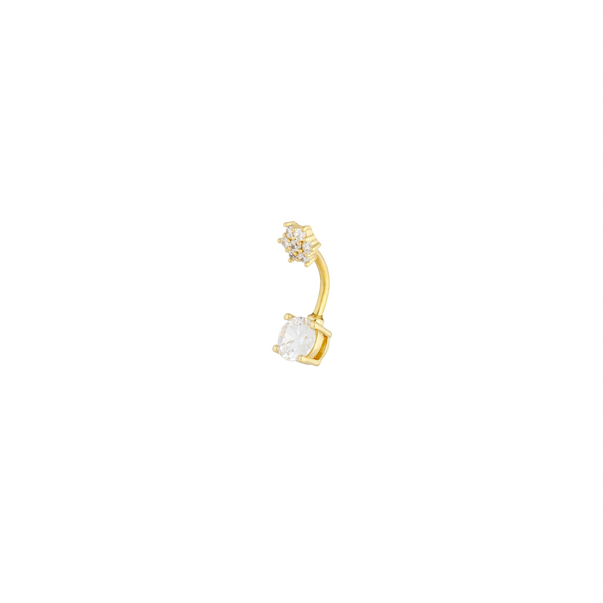 Gold Surgical Steel Double Cubic Zirconia Flower Belly Bar