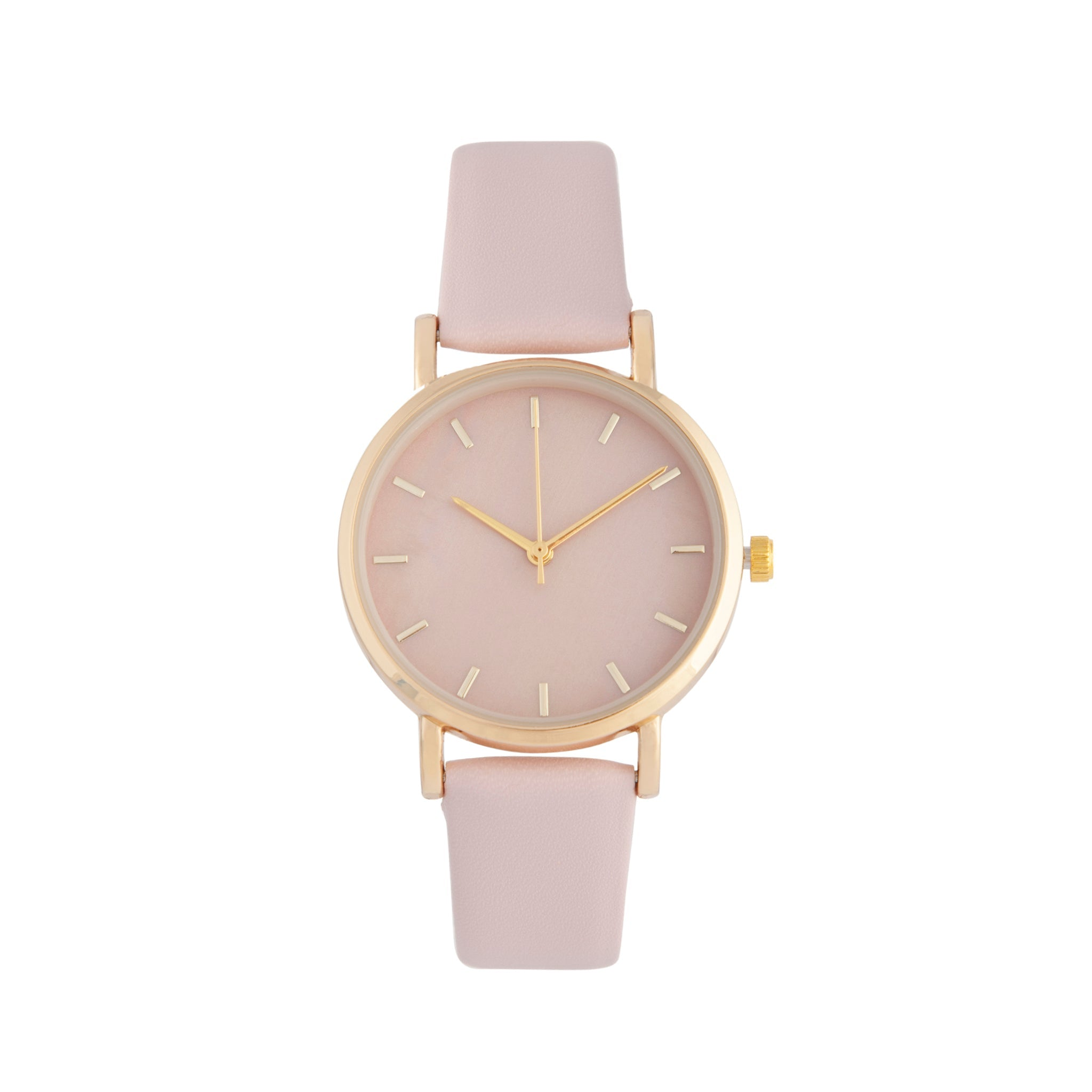 Baby Pink Gold Leatherette Strap Watch