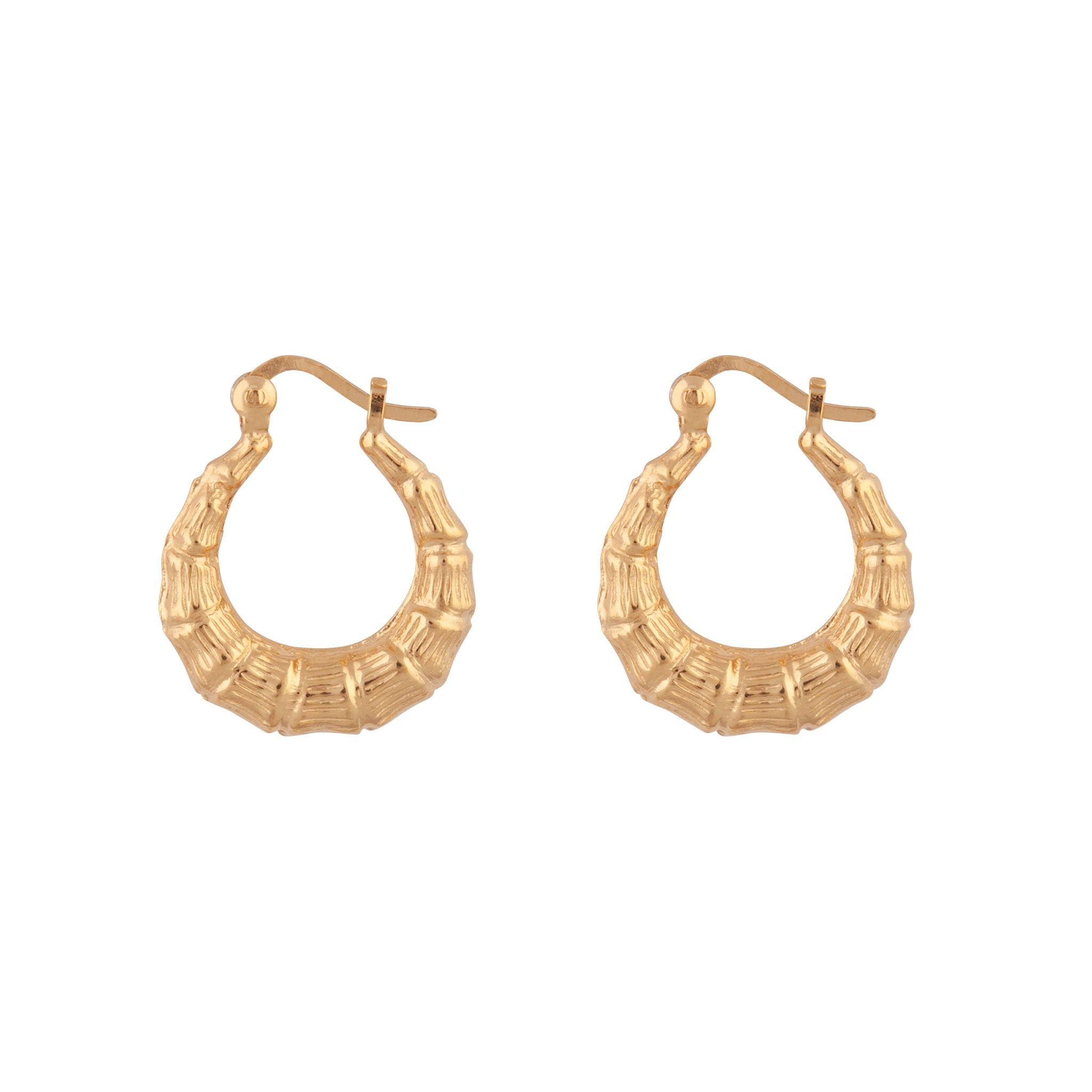 Gold Plated Sterling Silver Bamboo Hoop Earrings