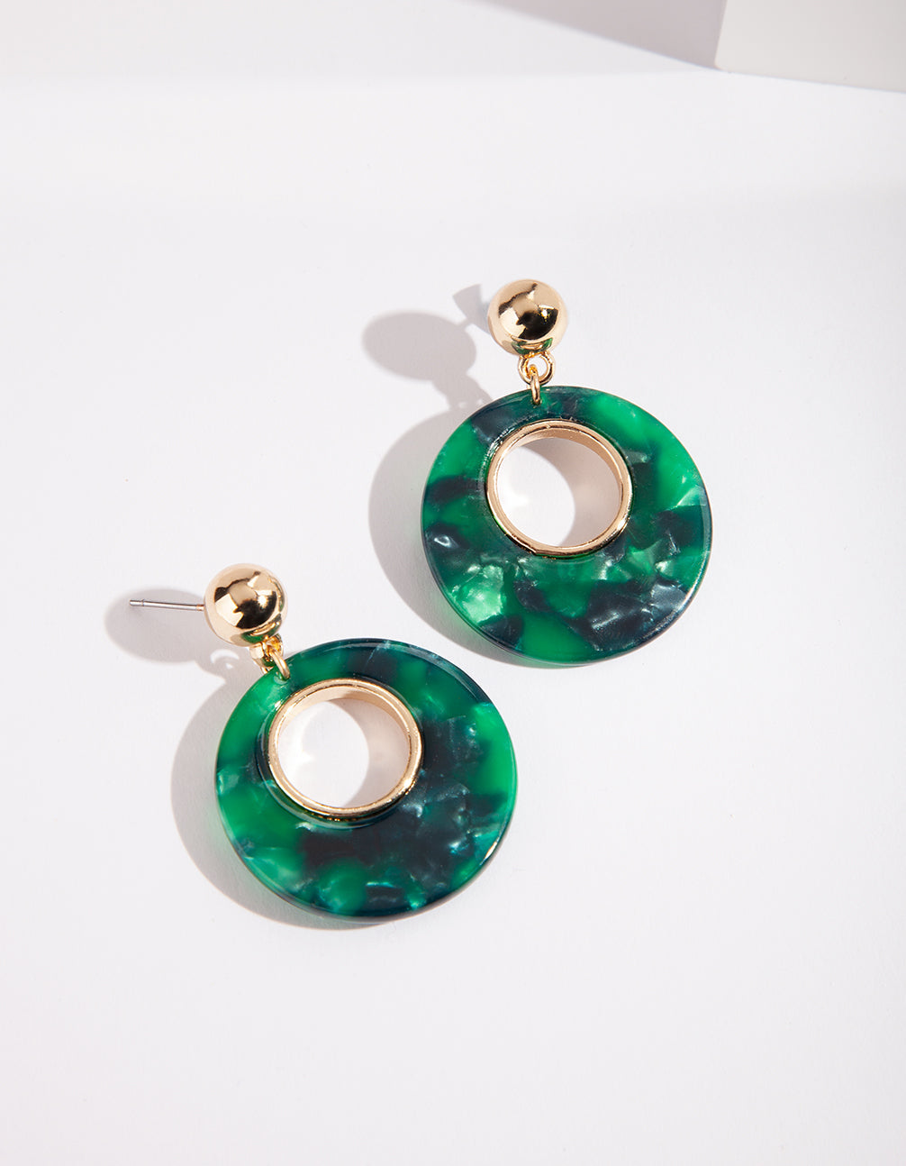 Gold Green Circle Acrylic Earring