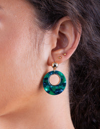 Gold Green Circle Acrylic Earring - link has visual effect only