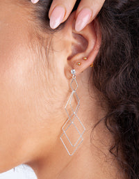 Silver Fine Diamond Cut Earring - link has visual effect only