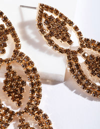 Brown Gold Diamante Drop Earring - link has visual effect only