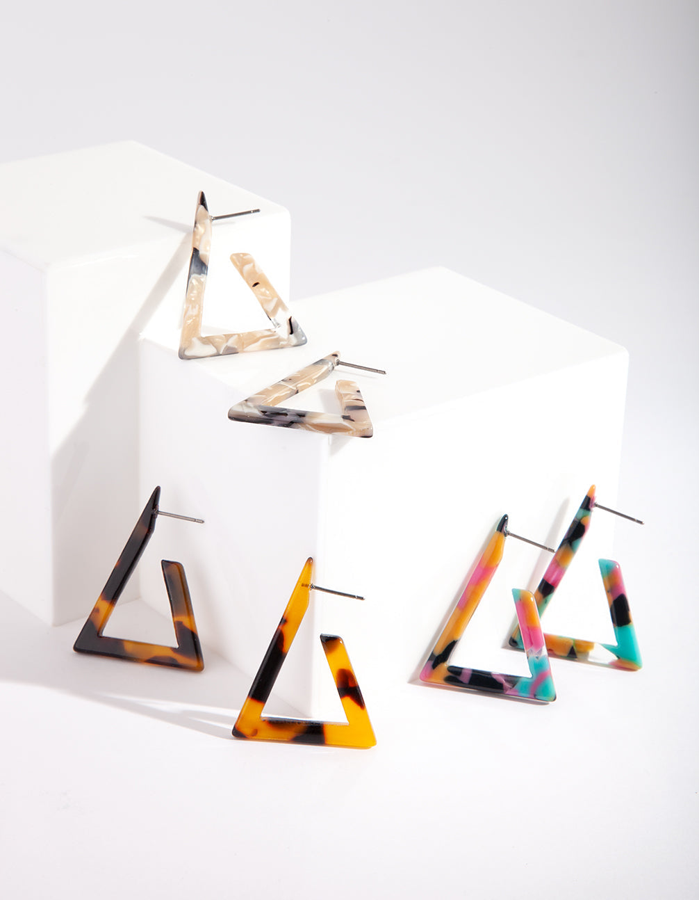 Acrylic Triangle Hoop Earring Trio Pack