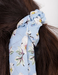 Blue Floral Long Scarf Scrunchie - link has visual effect only