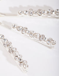 Silver Round-cut Crystal Hair Pin 4 Pack - link has visual effect only