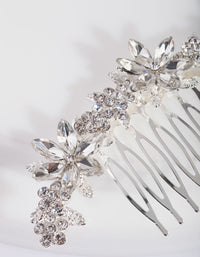 Silver Diamante Floral Comb - link has visual effect only