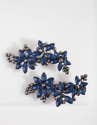 Gunmetal Mixed Crystal Floral Hair Clip - link has visual effect only