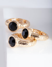Gold Stretch Black Gem Ring Stack - link has visual effect only