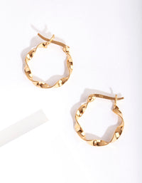 Gold Plated Sterling Silver 15mm Twist Hoop Earring - link has visual effect only