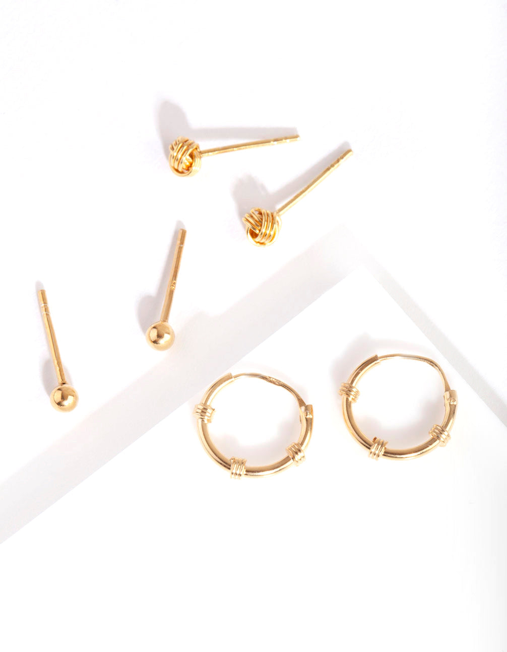 Gold Plated Sterling Silver Knot Hoop Earring 3 Pack