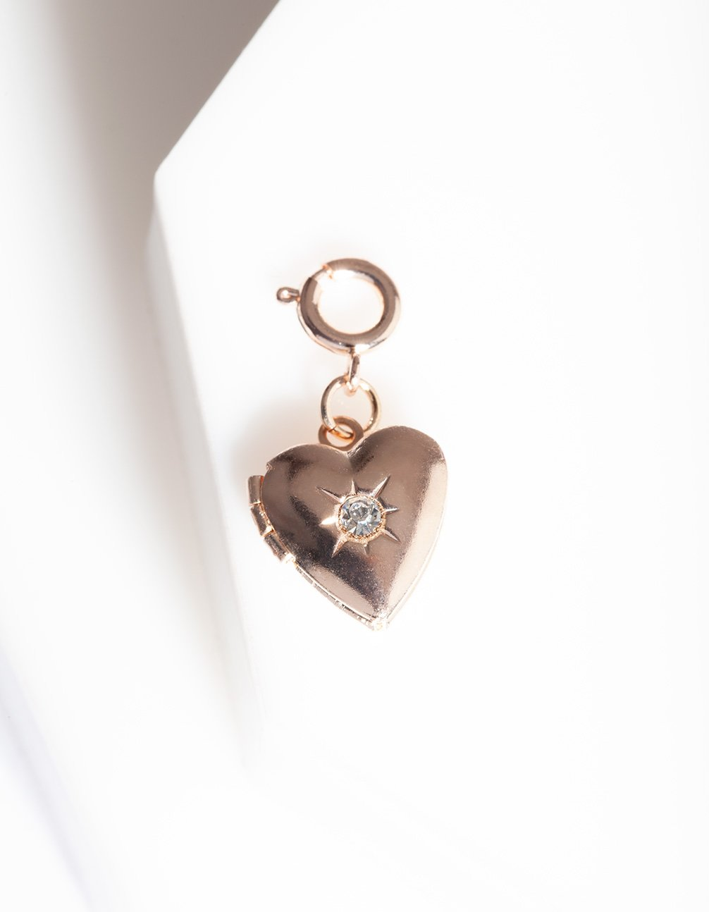 Rose Gold Diamante Heart Charm