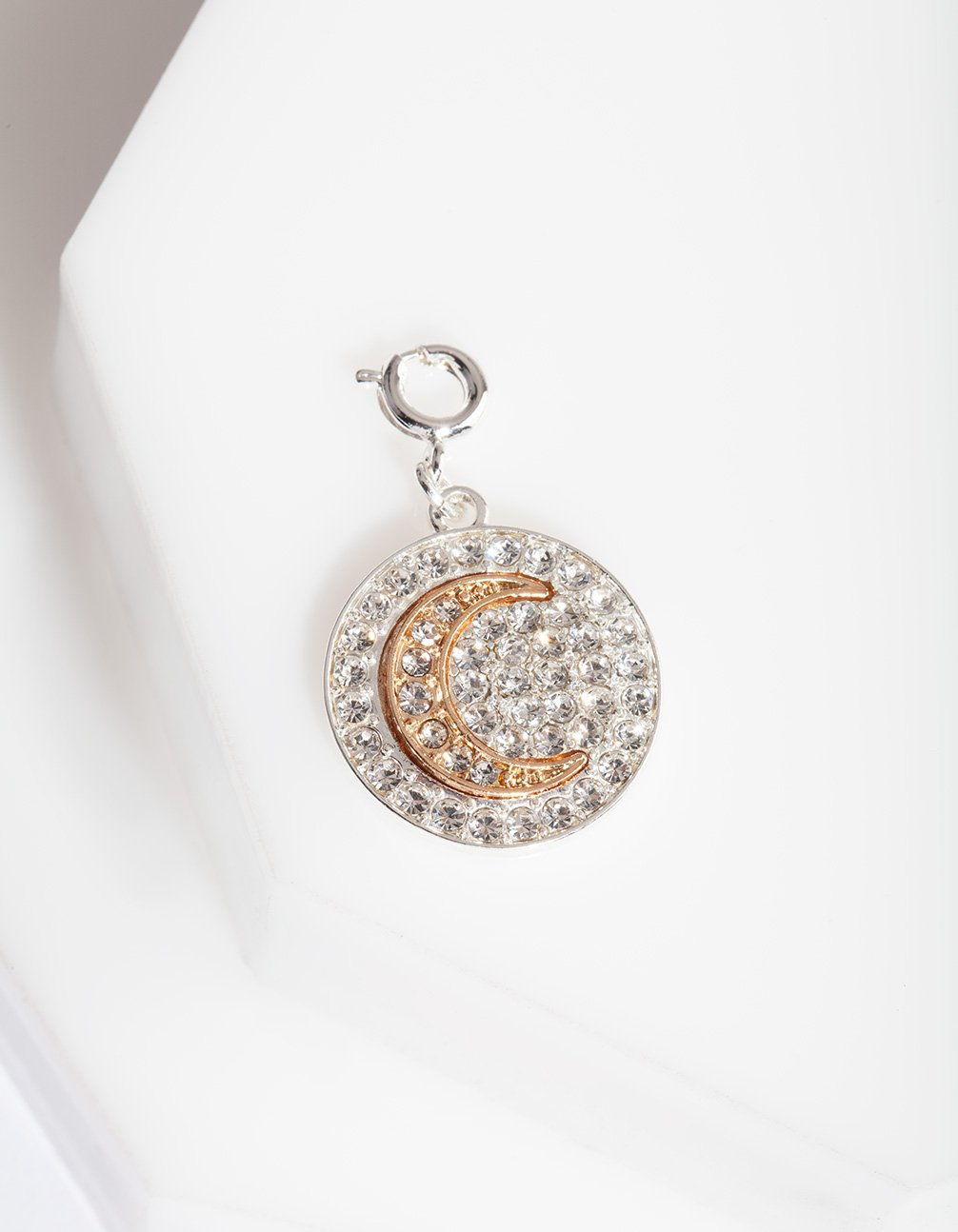 Silver Gold Diamante Moon Charm