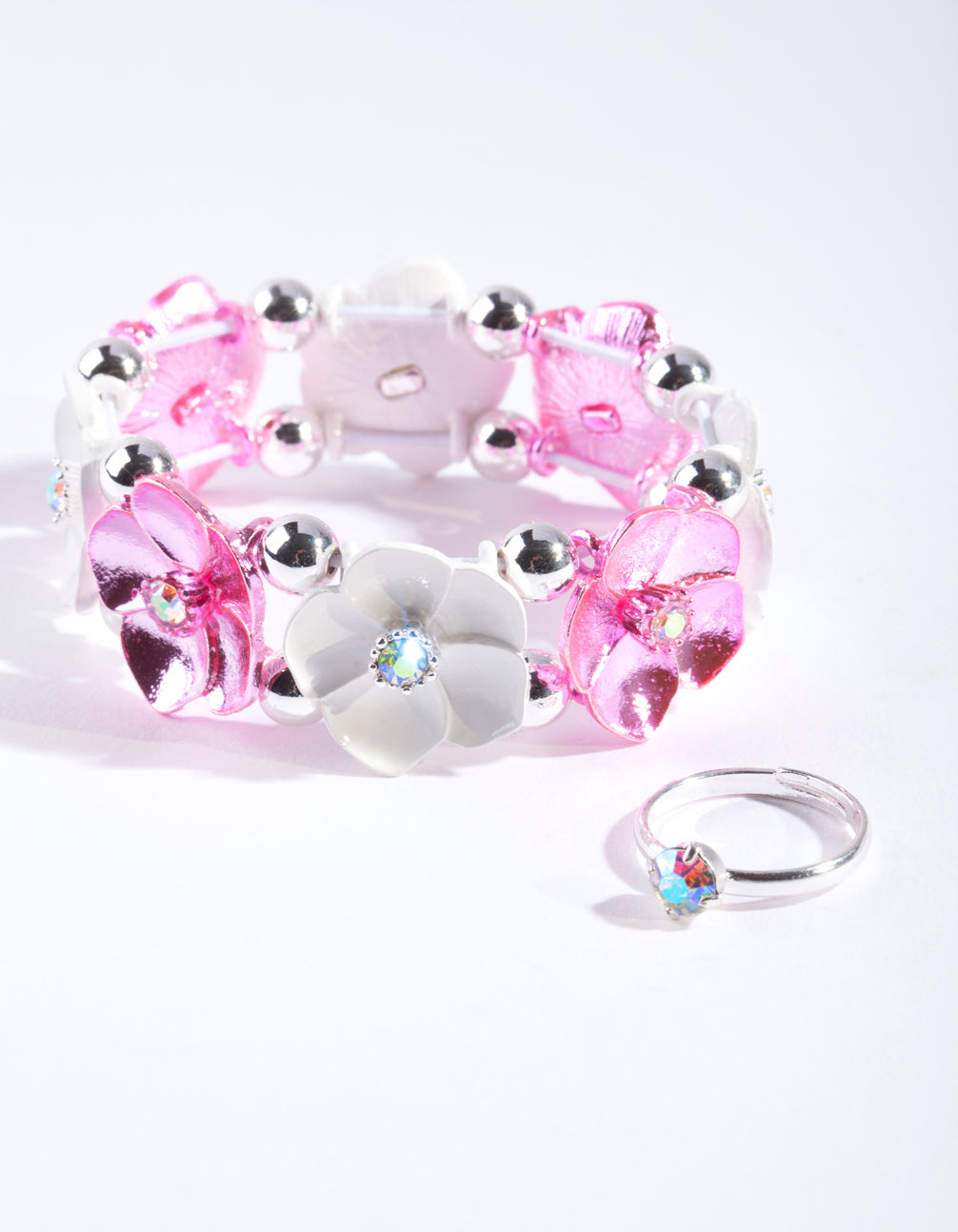 Kids Pink Silver Floral Jewellery Set