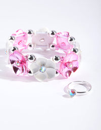 Kids Pink Silver Floral Jewellery Set - link has visual effect only