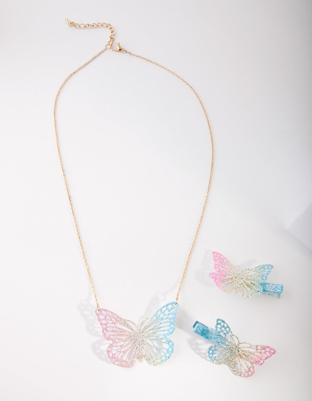 Kids Coated Metal Butterfly Clip and Necklace Set