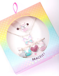 Kids Silver Multi Charm Ring Necklace Set - link has visual effect only