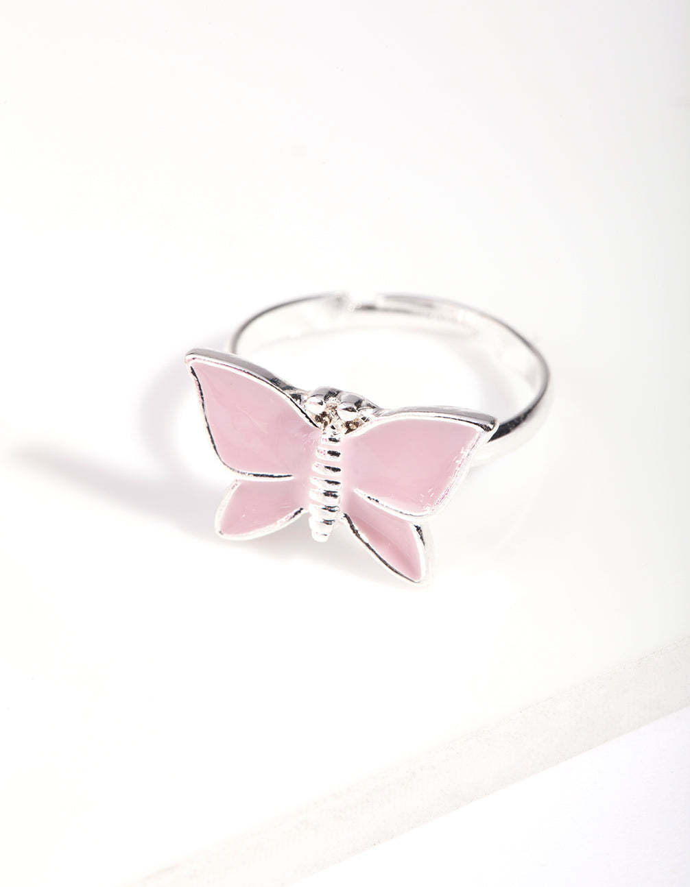 Kids Silver Enamel Butterfly Stretch Bracelet and Ring Pack