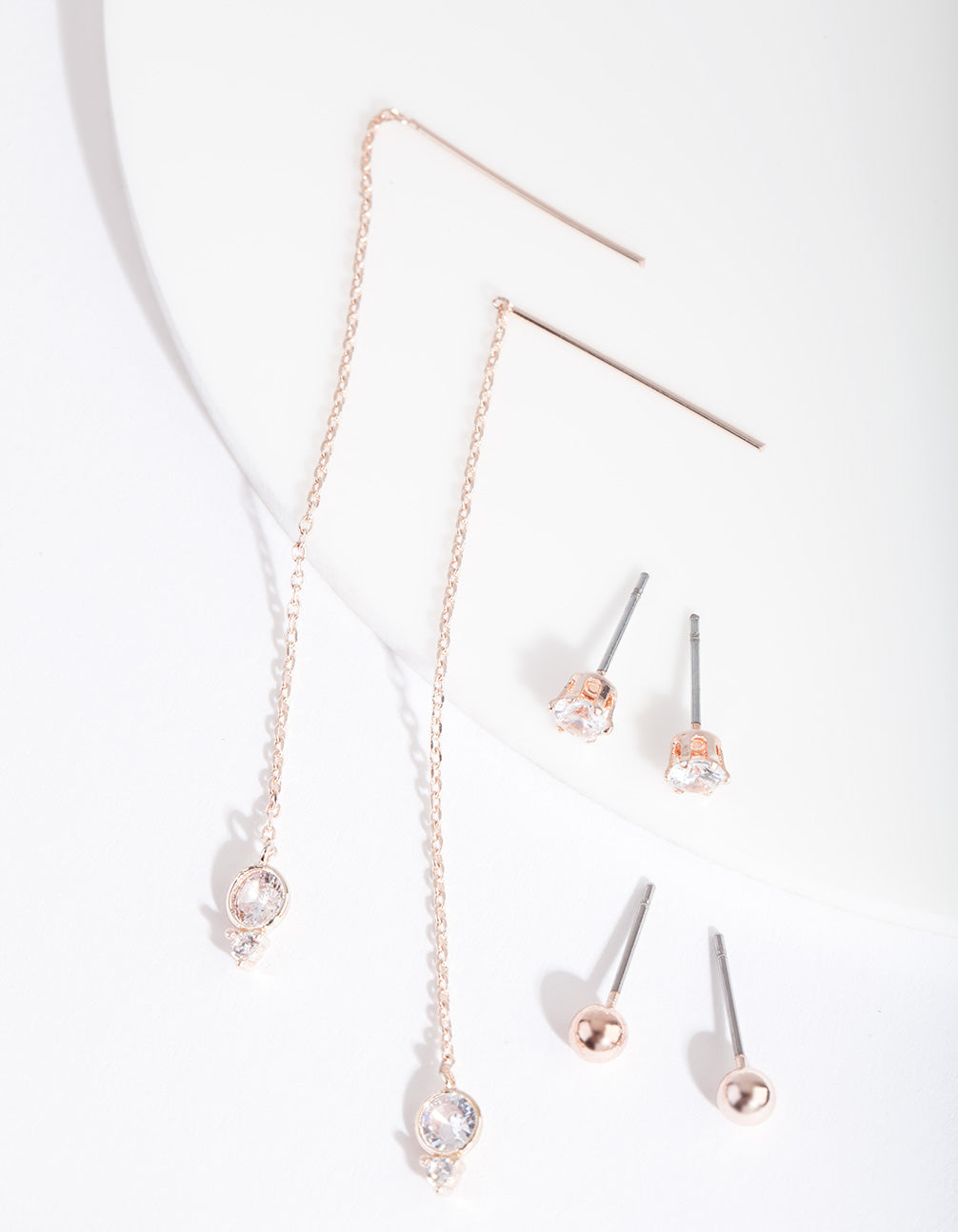 Rose Gold Cubic Zirconia Stud and Thread Earring 3 Pack