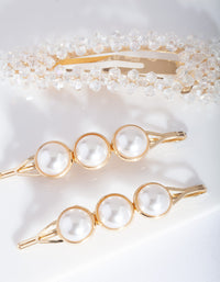 Gold Pearl Bead Hair Clip Pack - link has visual effect only