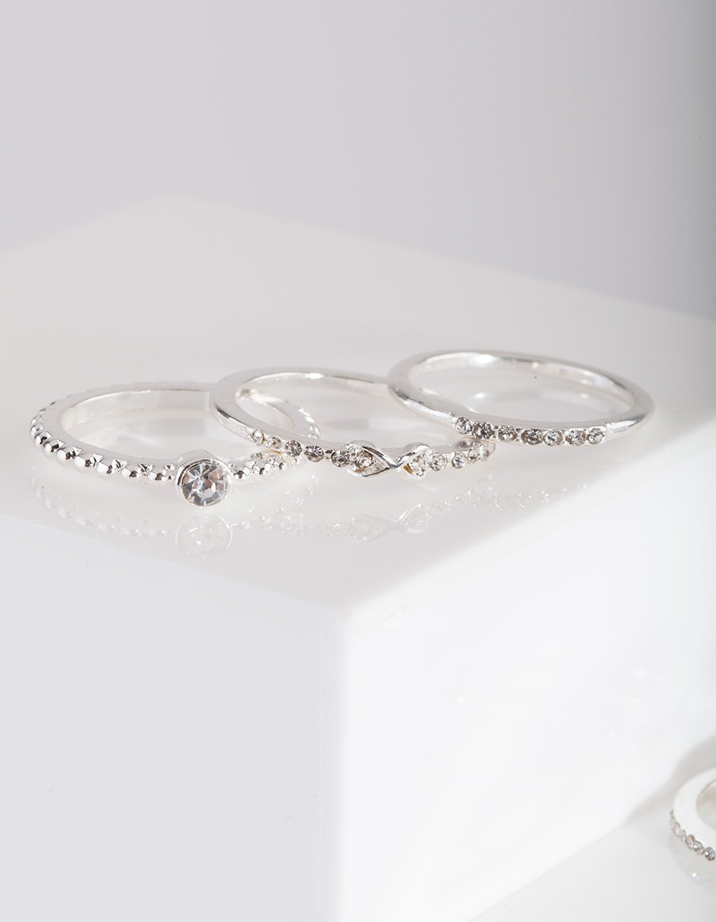 Silver Eternal Diamante Ring Pack