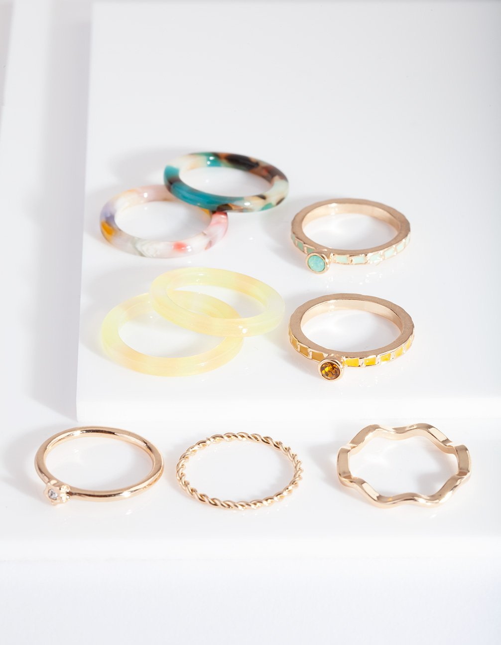 Rainbow Yellow Marble Ring Pack