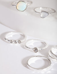 Silver Mixed Synthetic Opal Ring Pack - link has visual effect only