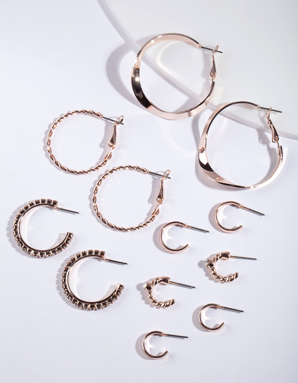Rose Gold Multi Hoop Earring 6 Pack
