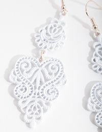 White Large Filigree Drop Earrings - link has visual effect only