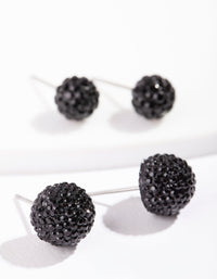 Black Jelly Ball Earring 2 Pack - link has visual effect only