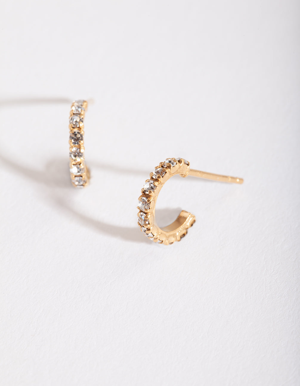 Gold Plated Sterling Silver Mini Cubic Zirconia Open Hoop Earring