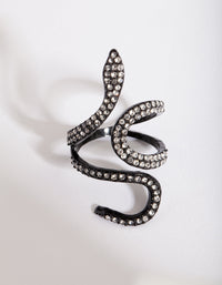 Green Diamante Swirl Snake Ring - link has visual effect only