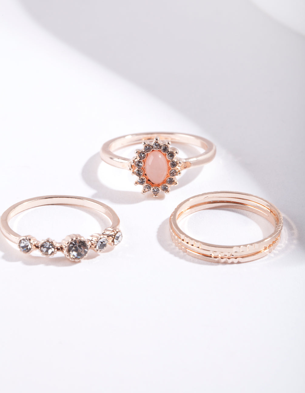 Rose Gold Stone Diamante 5 Pack Ring Stack