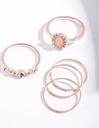Rose Gold Stone Diamante 5 Pack Ring Stack - link has visual effect only