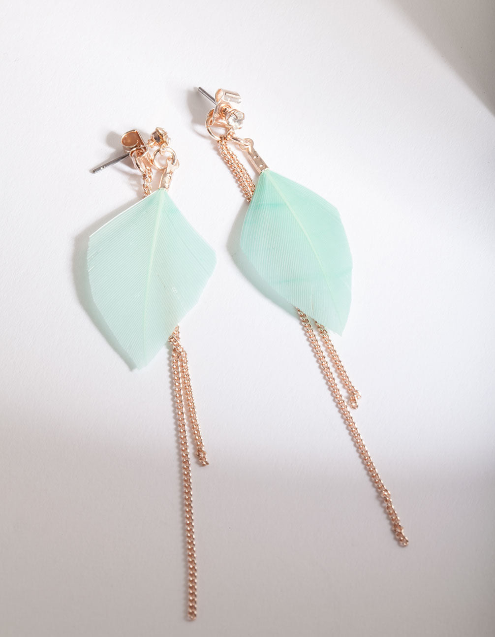 Aqua Feather and Thread Drop Earring