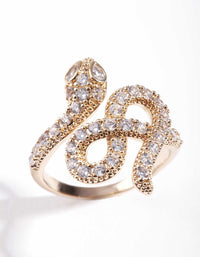 Gold Knotted Diamante Snack Ring - link has visual effect only