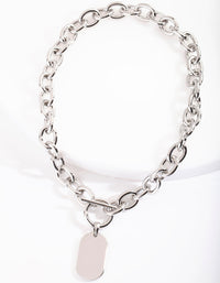 Thick Rhodium Chain Pendant Necklace - link has visual effect only
